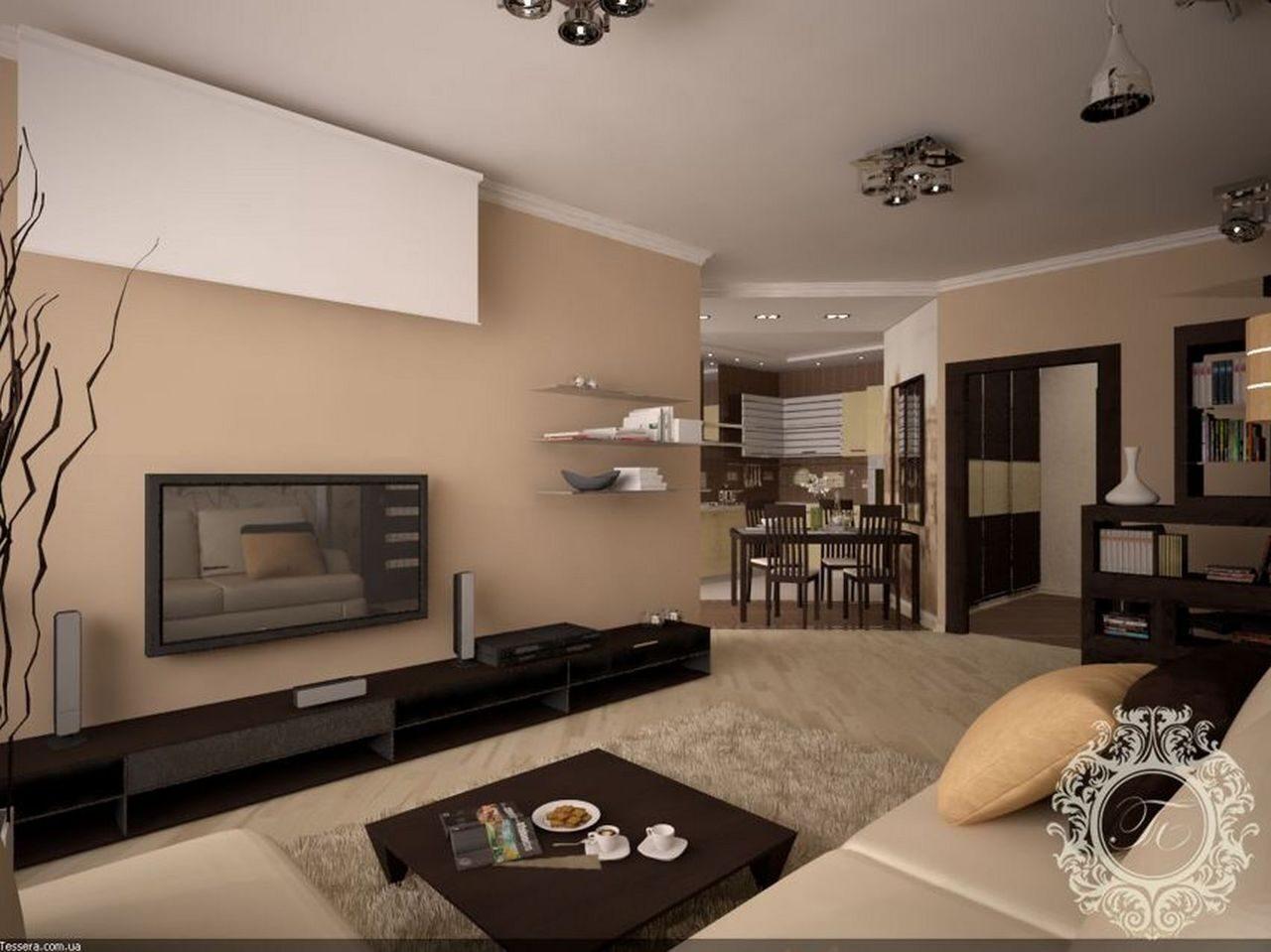 Современный дизайн гостиной-спальни